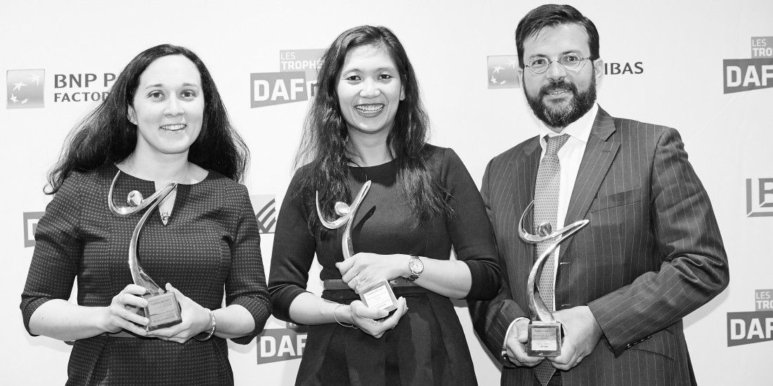 Les 3 lauréats des Trophées DAF 2017 (de gauche à droite): Estelle Leroy Savignac (Michel & Augustin), MongèTrang Sarrazin (Doctolib) et Nicolas Zanelli (Lafuma).