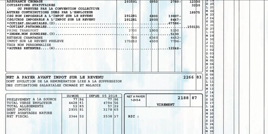 Prélèvement à la source : exemples de fiche de paie pédagogique